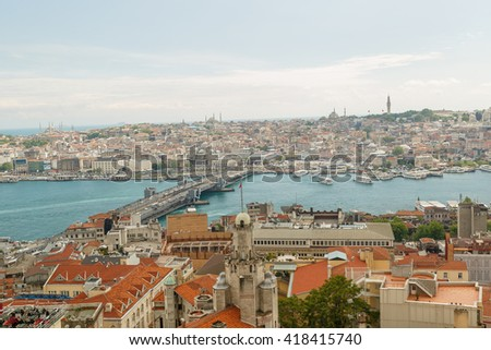 Panoramic Golden Horn sunset view with Blue Mosque and Hagia Sophia from Galata tower, Istanbul, Turkey