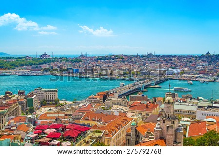 Panoramic Golden Horn view with Blue Mosque and Hagia Sophia from Galata tower, Istanbul, Turkey - stock photo