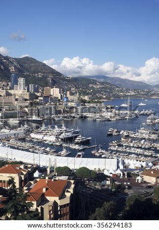 panoramic harbor view Monte Carlo Monaco Europe with yachts sailboats condos