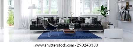Panoramic horizontal banner of a modern living room interior with white wall and floor, large bright windows, and a comfortable charcoal grey lounge suite around a blue rug. 3d Rendering.
