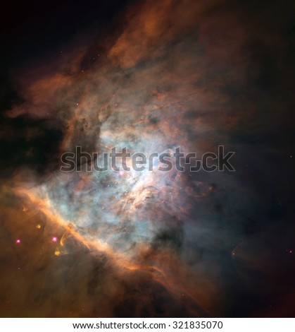 Panoramic Hubble Picture Surveys Star Birth, Proto-Planetary Systems in the Great Orion Nebula. Retouched image. Elements of this image furnished by NASA. - stock photo