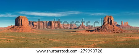 Panoramic image Monument Valley, desert canyon in USA,