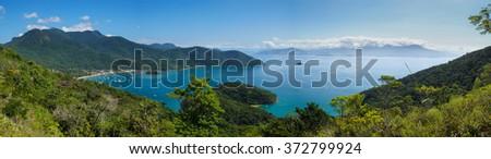 Panoramic image of a beautiful bay on the island of Ilha Grande, Brazil - stock photo