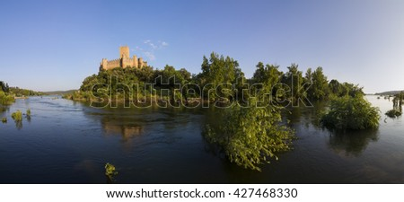 Panoramic image of Almourol medieval castle, built in an island in the middle of tagus river.