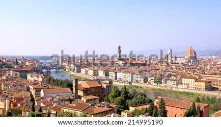 Panoramic image of city of Florence with Ponte Vecchio Duomo and other landmarks - stock photo