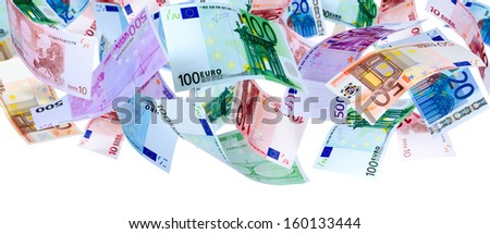 Panoramic image of falling Euro banknotes isolated on white - stock photo