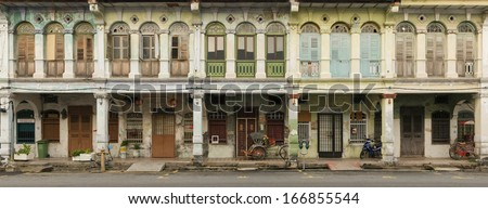 Panoramic image of heritage houses in George Town, Penang, Malaysia - stock photo