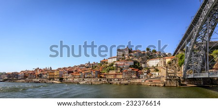 Panoramic Image of Historic Area of Porto, Portugal with Bridge Over River Douro