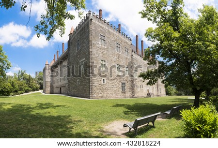 Panoramic image of Palace of the Duques of Braganca, Guimaraes Portugal - stock photo
