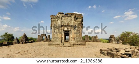 Panoramic image of Pre Rup Temple at Sunset, Angkor Wat, Cambodia - stock photo