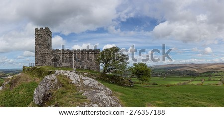 Panoramic Image of The Church of St Micheal de Rupe on Brentor, Dartmoor National Park, Devon England UK  - stock photo