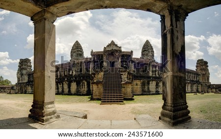 Panoramic image of the  East Gallery, Angkor Wat Temple, Cambodia - stock photo