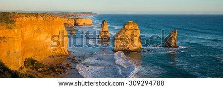 Panoramic image of the landmark Twelve Apostles at sunset, along the famous Great Ocean Road in Victoria, Australia - stock photo
