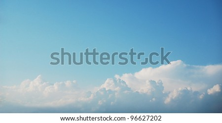 Panoramic image of the summer sky. - stock photo