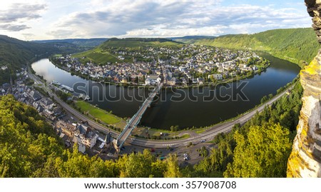 Panoramic image of Traben Trarbach or Traben-Trarbachtown on the Middle Moselle River in the Bernkastel-Wittlich district in Rhineland-Palatinate, Germany, Europe - stock photo