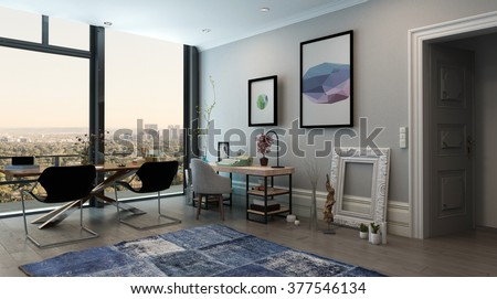 Panoramic Interior of Open Concept Office in Modern High Rise Apartment - Long Table with Chairs in Eclectic Home Office Space with View Through Window of City Skyline. 3d Rendering. - stock photo