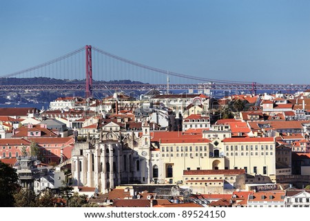 Panoramic kind to Lisbon and the river Tagus, Portugal - stock photo