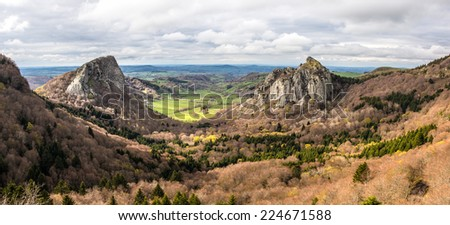 Panoramic Landscape?Idyllic valley between two volcans, Tuilliere and Sanadoire, Auvergne, France - stock photo
