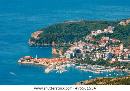 Panoramic landscape of Budva riviera in Montenegro. Balkans, Adriatic sea, Europe. View from the top of the mountain.