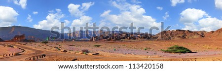 Panoramic landscape of desert and rocks in Timna national park. Israel - stock photo