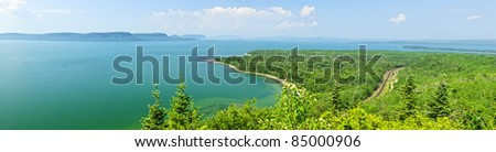 Panoramic landscape of Lake Superior northern shore in Ontario, Canada - stock photo