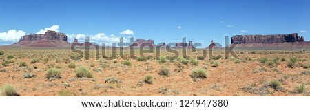 panoramic landscape of Monument Valley, Utah, USA. - stock photo