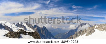 Panoramic landscape of mountain range near the Mont Blanc - stock photo
