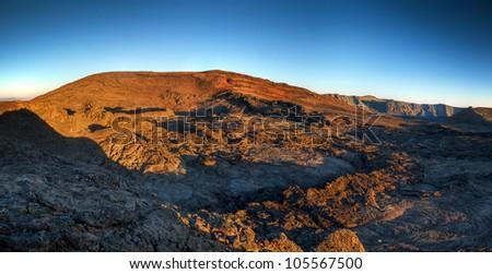 Panoramic landscape of Piton de la Fournaise volcano, Reunion Island National Park. - stock photo