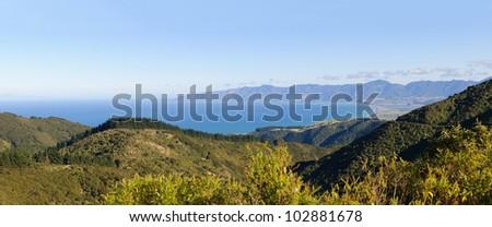Panoramic landscape of the Wairarapa coastline on the North Island of New Zealand - stock photo
