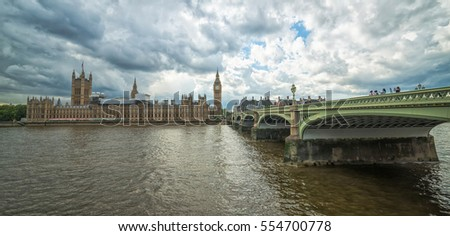 Panoramic landscape of Westminster bridge with Big Ben and houses of parliament in background