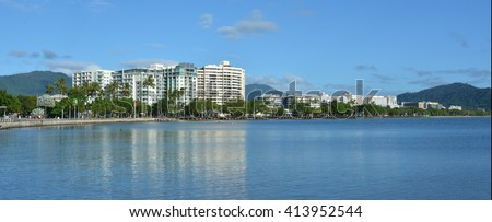 Panoramic landscape view of Cairns waterfront skyline in Queensland Australia - stock photo