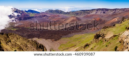 Panoramic landscape view of Haleakala volcano, Maui, Hawaii, USA