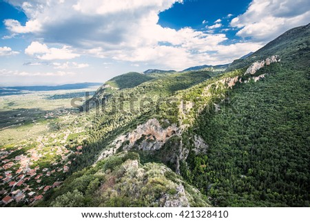 Panoramic landscape view on Sparta, Greece - stock photo