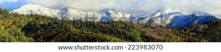 Panoramic landscape with fresh snow in the Wasatch Mountains, Utah, USA. - stock photo