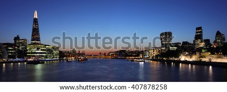Panoramic London at night - stock photo