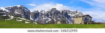 Panoramic mountain landscape.Cantabrian mountain range.Spain. - stock photo