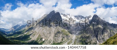 Panoramic mountain landscape with Val Ferret, Mont Blanc, Italy - stock photo