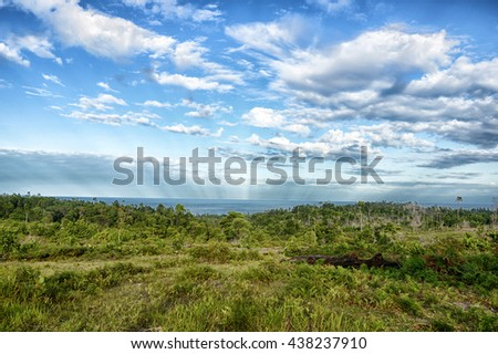 panoramic mountain tropical forests - stock photo