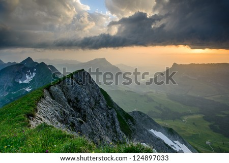 Panoramic mountain view from Brienzer Rothorn at Sunset, Berner Oberland, Switzerland