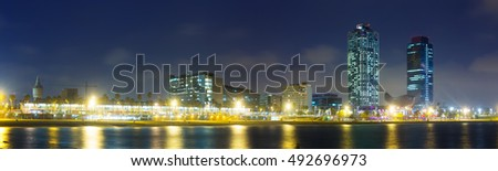 Panoramic night view of  center of nightlife at Barcelona. Catalonia, Spain