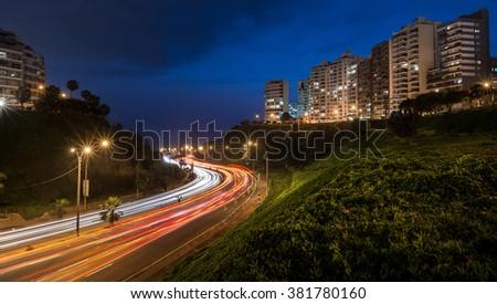 Panoramic night view of the Armendaris downhill and highway in MIraflores, Lima, Peru. - stock photo