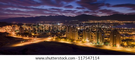 Panoramic night view on Eilat - famous resort and recreational city of Israel - stock photo