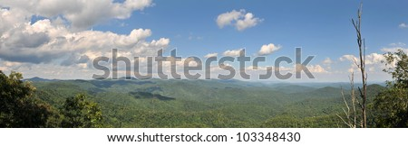 Panoramic North Carolina Blue Ridge Parkway Jumpingoff Rocks Trail Panoramic View With Copy Space - stock photo
