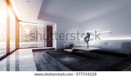 Panoramic of Bright Warm Sunlight Shining Through Large Picture Window in Modern Vacation Home, Monochrome Interior of Living Room with White Sofa and Contemporary Tables. 3d Rendering. - stock photo