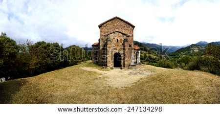Panoramic of Church of Santa Cristina de Lena Oviedo - stock photo