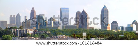 Panoramic of downtown Atlanta Georgia - stock photo