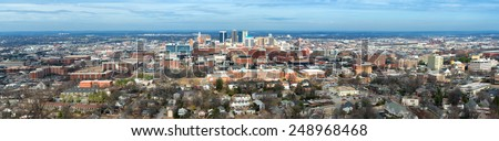 Panoramic of downtown Birmingham, Alabama, from Vulcan Park - stock photo