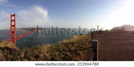 Panoramic of Golden Gate Bridge and San Francisco Cityscape, taken from the Marin Headlands hills. - stock photo
