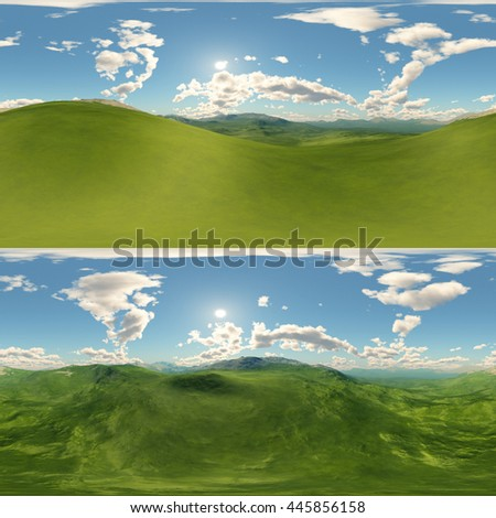 panoramic of green hills landscape . made with one 360 degree lense camera without any seams. ready for virtual reality
