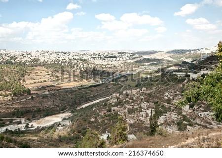 panoramic of Jerusalem - stock photo